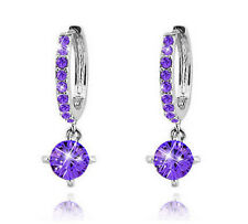 Shiny White Gold Plated PURPLE Austrian Crystal Hoop Circle Drop Earrings UK