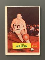 1957 Topps #10 Paul Arzin Rookie HOF GD/Crease Philadelphia Warriors