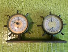 antique brass barometer ship wheel shaped working 5x12 inches nice patina