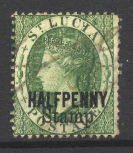 St Lucia SG F11 Cat £55 Official HALFPENNY Stamp Overprint on Green Very Fine Us