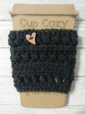 New listing crochet cup cozy coffee drink sleeve Dark gray mix button knit handmade new