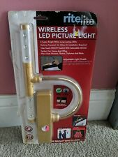 RiteLite Wireless Led Picture Light Gold Metal Finish, battery operated open box