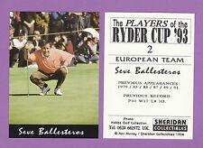 SHERIDAN  COLLECTIBLES  -  GOLF CARD  -  SEVE  BALLESTEROS  OF  SPAIN  -  1994
