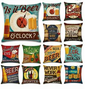 "Vintage Beer Cushion Cover Pillow Case Cotton Flax Retro Sofa Home Bar Decor 18"""