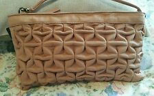 Ladies ruffled leather (cow) handbag - NUDE with store tag Rrp $145.00