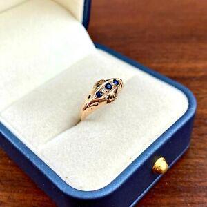 VICTORIAN ENGLISH BIRMINGHAM 9K ROSE GOLD DIAMOND & SAPPHIRE SIZE 7.5