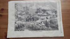 1873 Illustrazione Popolare: Una Masseria in Fionia (Danimarca Denmark)
