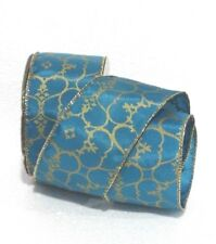 "NEW 25 ft Bolt 2 1/2"" Modern Damask  Gold & Teal Wired Ribbon"