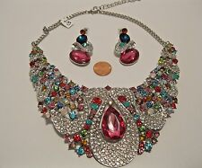 Necklace Earrings Set Brilliant Pink Blue Topaz Rhinestone Statement NWT L234