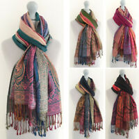 Ladies Long Bright Rainbow Multicolour Paisley Scarf Pashmina Evening Shawl Wrap