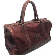 VINTAGE LA BAGAGERIE BROWN DISTRESSED LEATHER DUFFLE BAG