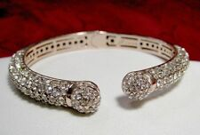 Joan Boyce Kissable Rose Gold Tone Metal With Clear Crystals Cuff Bracelet