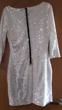 BNWT Glamorous Sequinned  Bodycon Dress White Size Small..uk8-10