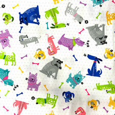 Fabric Palette Dog Loves Bones Dogs on Dots - Per 1/4 Metre