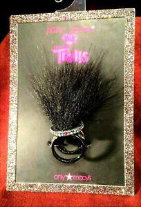 Betsey Johnson XOX Trolls Black Faux Fur Ring