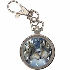 Wolves Silver Key Ring Chain Pocket Watch