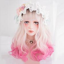 45CM Ombre Lolita Japan Cute Black Mixed Blonde Magenta Long Wavy Cosplay Wig