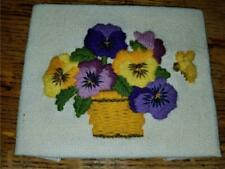 Vintage 5X4 Finished Crewel Embroidery Pansy Flowers Basket Bumble Bee Cottage