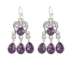 Vintage Earrings Gemstone Silver Amethyst Wedding 925 Engagement Women Jewelry