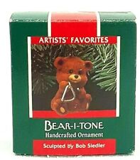 Bear-I-Tone Flocked Teddy Bear Hallmark Christmas Ornament 1989 Cymbal W/ Box