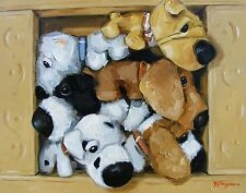 still life Original Oil painting toy dogs in a box - trompe l'oeil - j payne