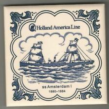 Holland America Line  Blue Delft Tile...Vintage.. ss Amsterdam 1 1880 -1884