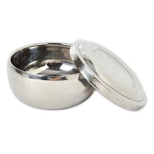 Shinning Stainless Steel Double Edge Shaving Mug Bowl with Lid for Brush Soap