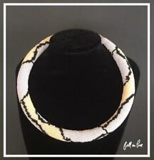 Skin Jewelry - Pastel Beads Choker Bead Crochet Reptile Python Necklace - Snake