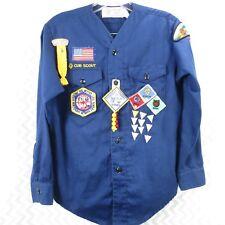 Vintage 1980's Official Cub Scout Uniform Top Webelos Patches Badges Sz XL (Q7)