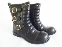 Women's Mid Calf Biker Style Boots in Black or Brown Padded Buckle detail