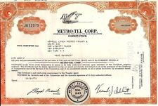 M-T Metro-Tel Corp stock certificate 1977 State of Delaware