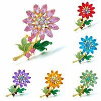 Rhinestone Crystal Flower Women Wedding Bridal Bouquet Brooch Pin Jewelry Gift