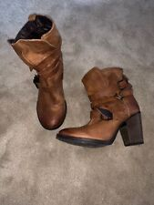 Steve Madden YALE Women's Distressed Brown Leather Ankle Boots Heels - Size 10