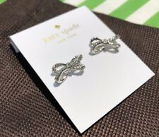 studs earrings silver crystal bow+dust bag new Authentic Kate Spade tied up pave