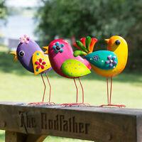 Small Bright Metal Bird Garden Ornament Statue Scuplture Lawn Decoration Patio