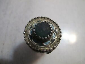 Antique Byzantine Gold Plated Silver Enamel Ring