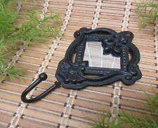 Cast Iron Wall Hook With Small Mirror Black 7 1/4 In Ornate Vintage