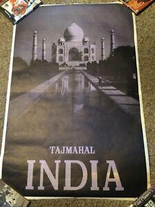 "Vintage TAJMAHAL India Grey/Black Photograph Travel Art Print Poster 24.5"" x 37"""