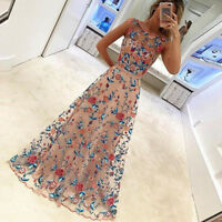 Women Long Prom Lace  Evening Cocktail Party Bridesmaid Gowns Embroidered Dress