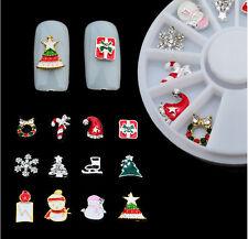 12x Christmas 3d Nail Art Decor Wheel Alloy Nail Sticker Tips Rhinestone Jewerly
