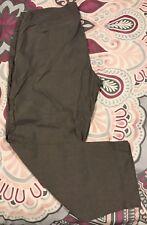 Eileen Fisher heather brown linen blend crop pants Size 14 slim leg CASUAL light