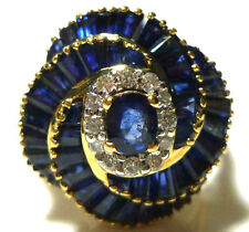 LEVIAN 18K YELLOW GOLD 3.00CT BLUE SAPPHIRE DIAMOND COCKTAIL SWIRL RING SZ8.25