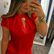 Women Casual Chiffon Short Sleeve Splice Tops Blouse V-Neck Office OL T Shirt