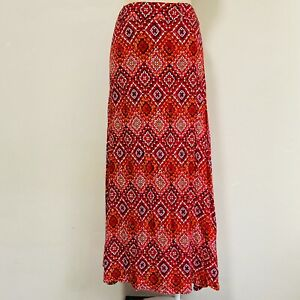 Miracle Size 10 Maxi Skirt Red Orange Pink High Waisted Geometric Print