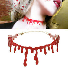 Halloween Red Blood Drip Plastic Chocker Necklace Gothic Fashion Jewellery Seau