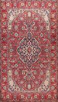 Vintage Hand-knotted Geometric Tebriz Area Rug Classic Oriental Wool Carpet 7x10