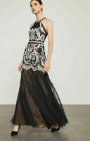 BCBG MAX AZRIA $498 BLACK WHITE EMBROIDERED TULLE HALTER GOWN DRESS 2 4 6 10 12