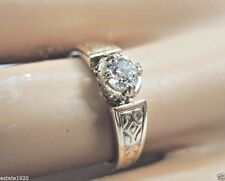 Victorian Deco Diamond Engagement 18K Yellow Gold Ring Size 6 UK-L1/2 EGL USA