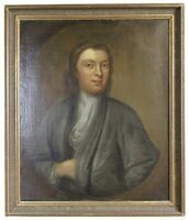 Antique 19th Century English Philosopher Portrait Oil Painting Young Man 33""