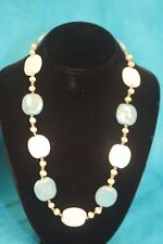 """NEW - KAZURI 22"""" PEBBLES Beaded Necklace Coral White and Blue sku #1707"""